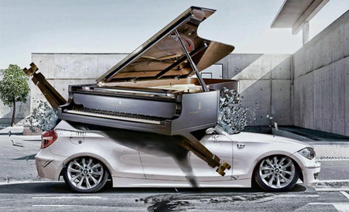 Пианино упало на BMW
