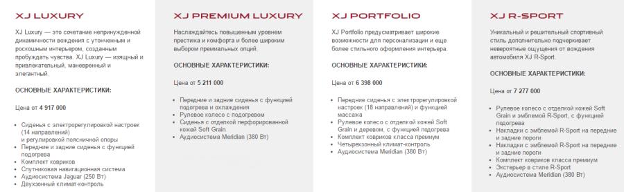 Комплектации и цены Jaguar XJ